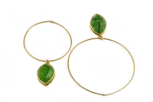 Golden Dioptase Hoops Irregular