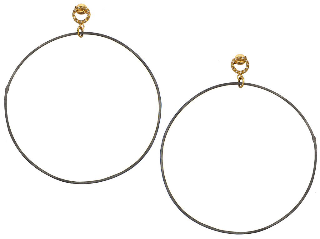 Golden Diamond Hoop Earrings Oxidized