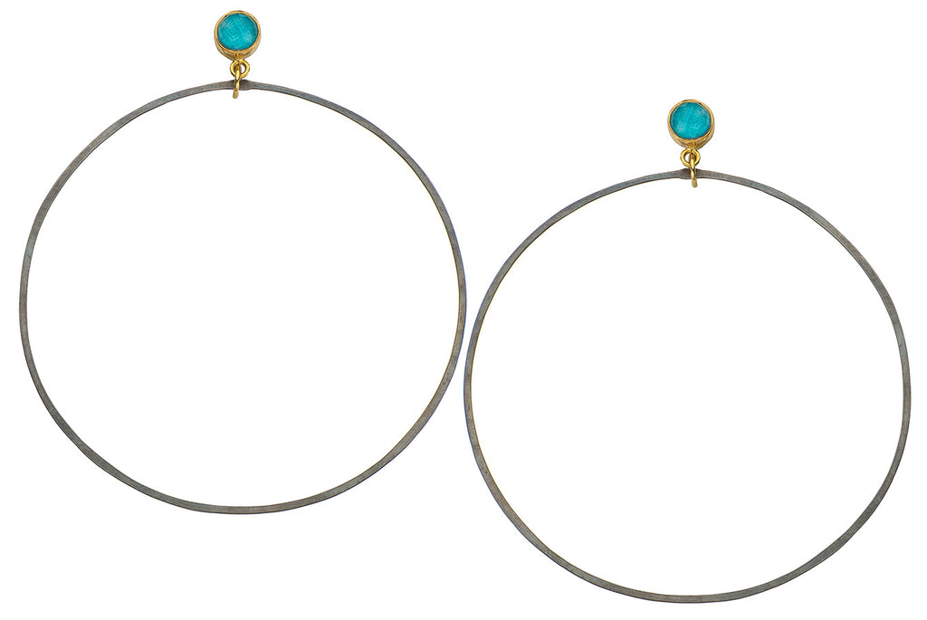 Golden Turquoise Hoops Oxidized