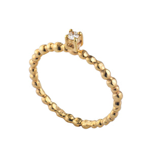 Golden Granulated Diamond Ring