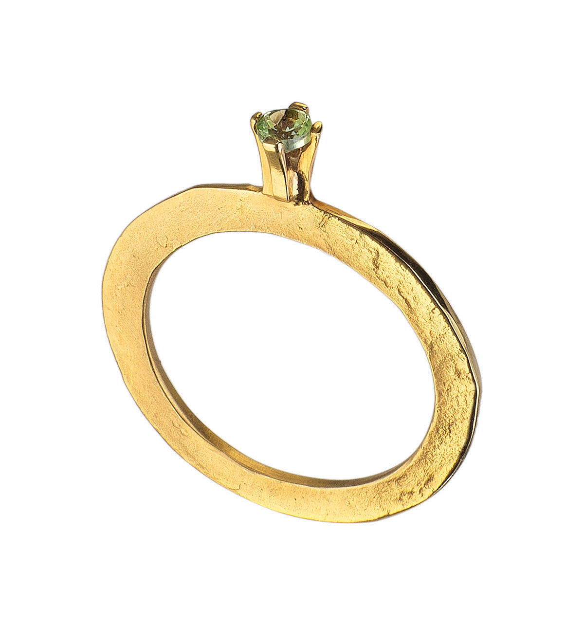 Solitaire Peridot Flat Ring