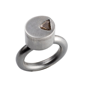 Rose Cut Diamond Oval Silver Ring