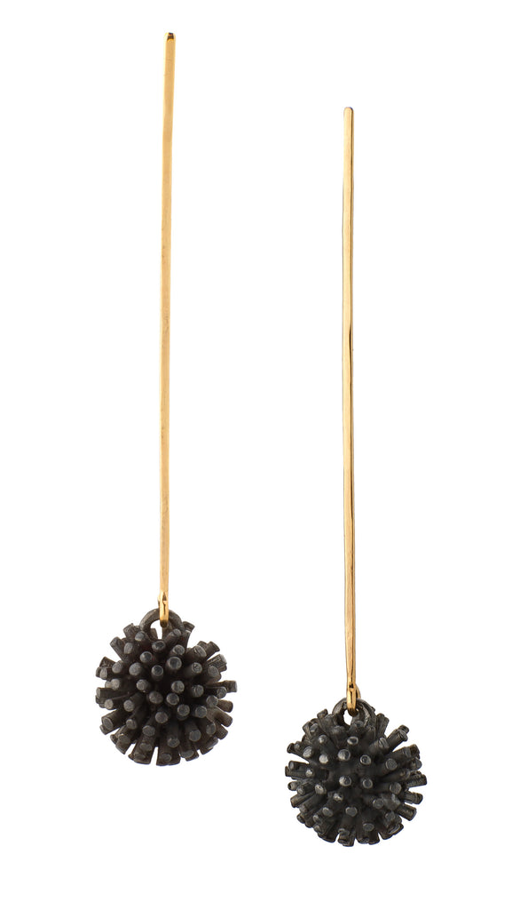 Silver & Gold Sea-Urchin Earrings