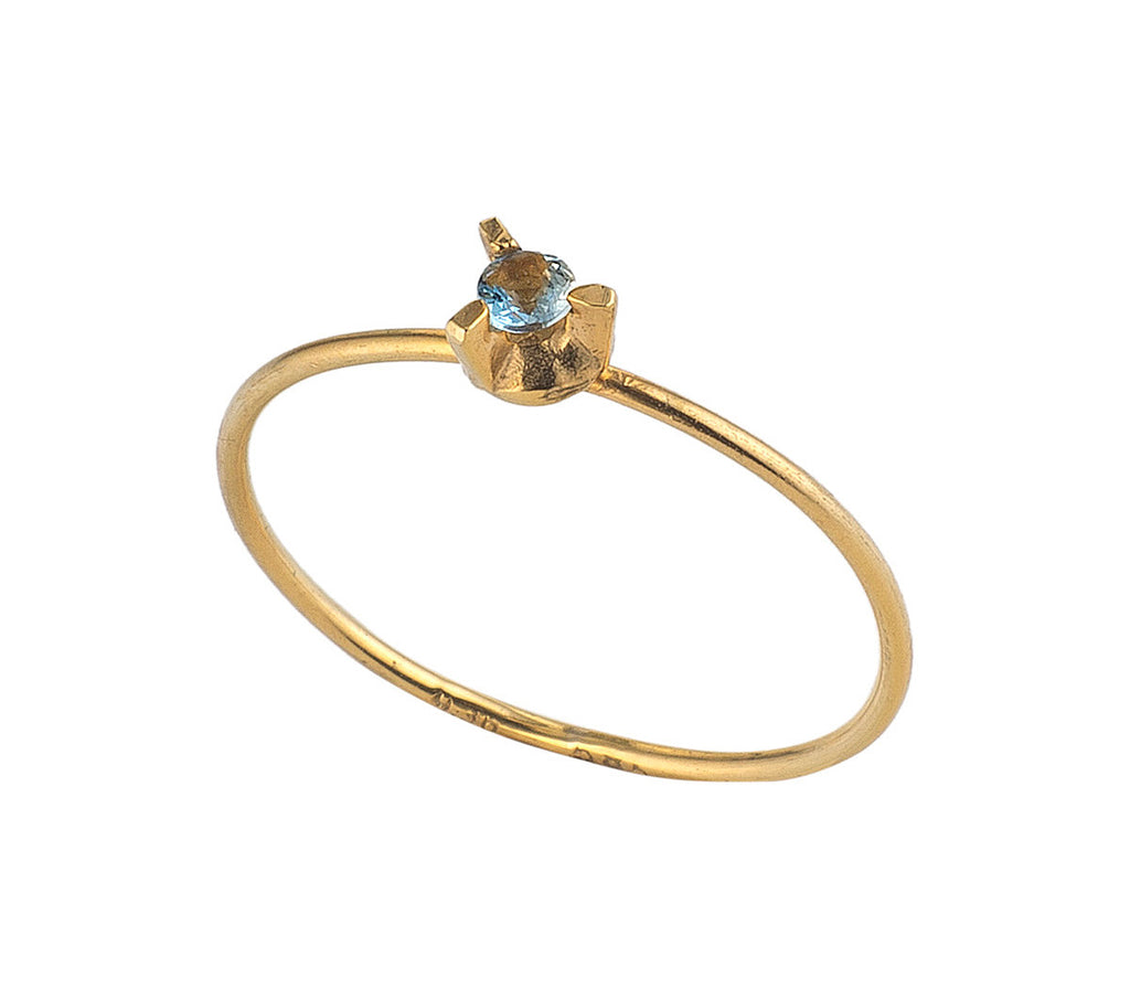 Golden Aquamarine Ring