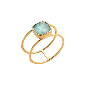 Golden Amazonite Double Ring