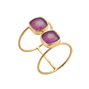 Two Squares Golden Ruby Double Ring