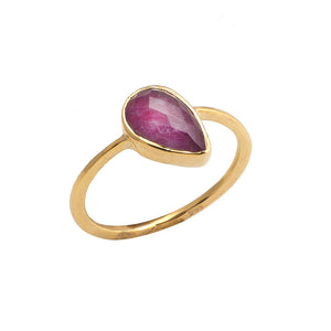 Golden Drop Ruby Ring
