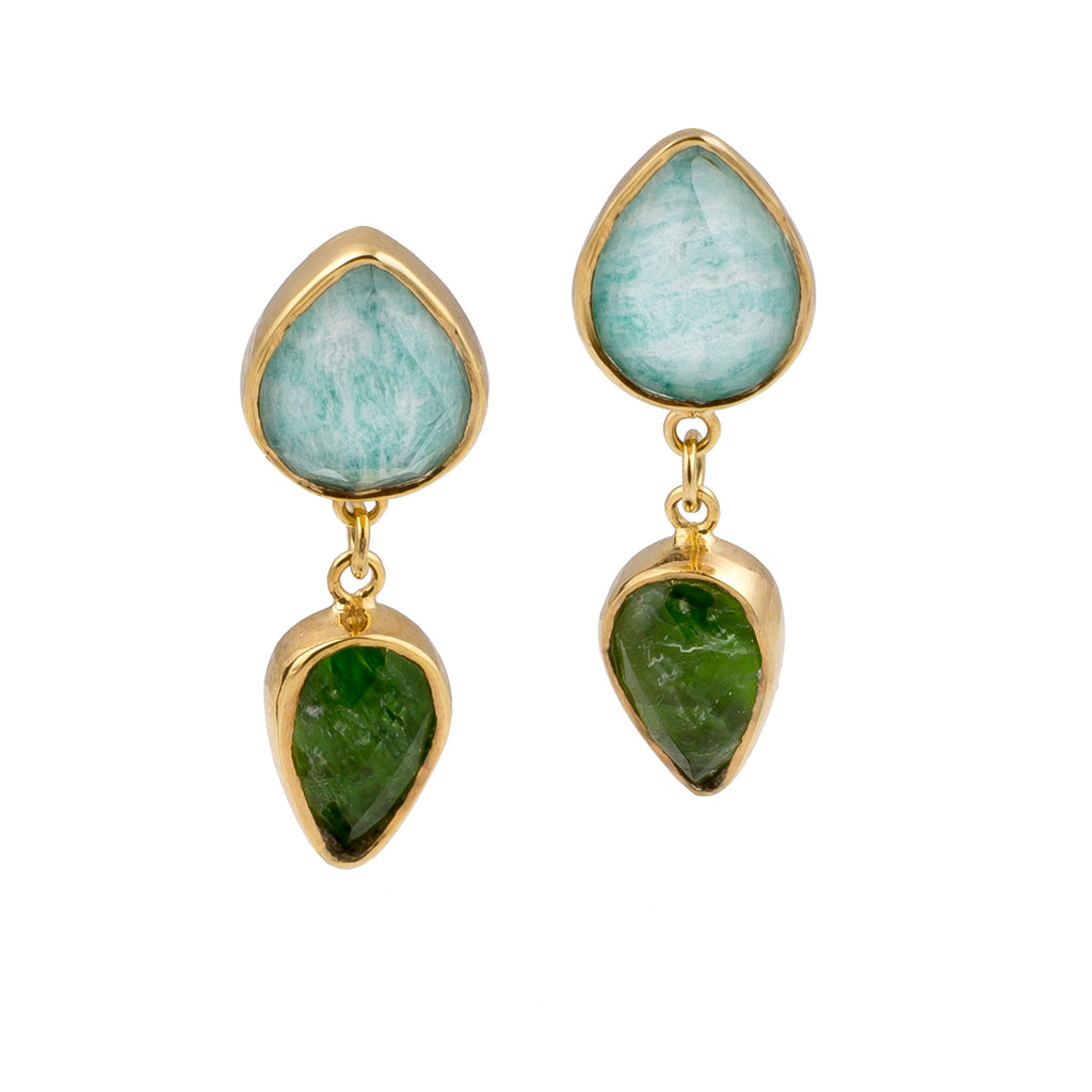 Golden Dioptase and Amazonite Drop Earrings