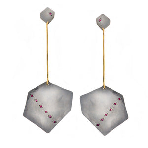 Polygon Drop Ruby Earrings