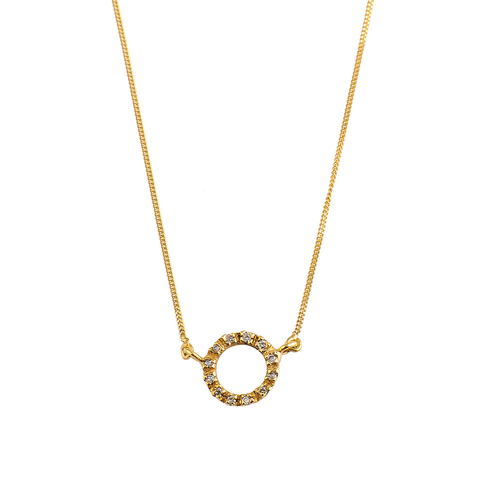 Golden Diamond Circle Necklace