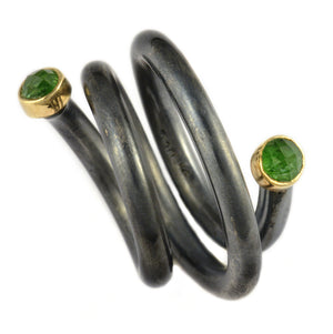 Oxidized Silver and Gold Spiral Ring