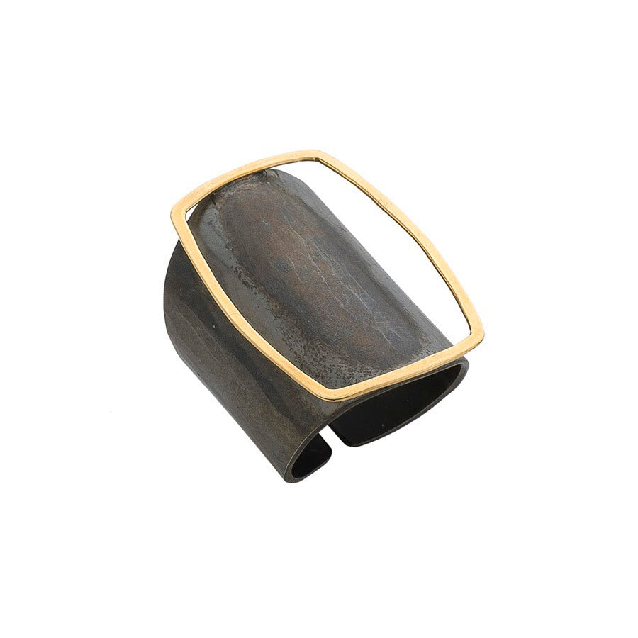 Circular Oxidized Silver & Gold Ring