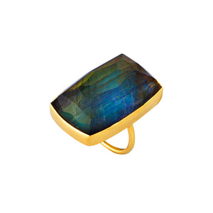 Square Golden Spectrolite Ring