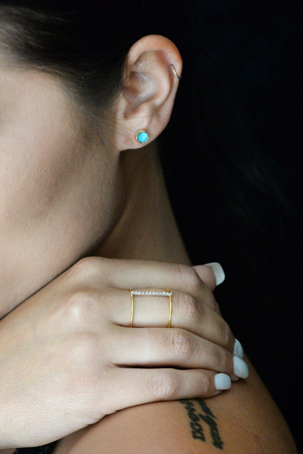 Golden Turquoise Stud Earrings