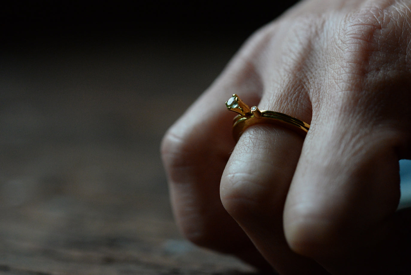 Flat Gold Diamond Ring