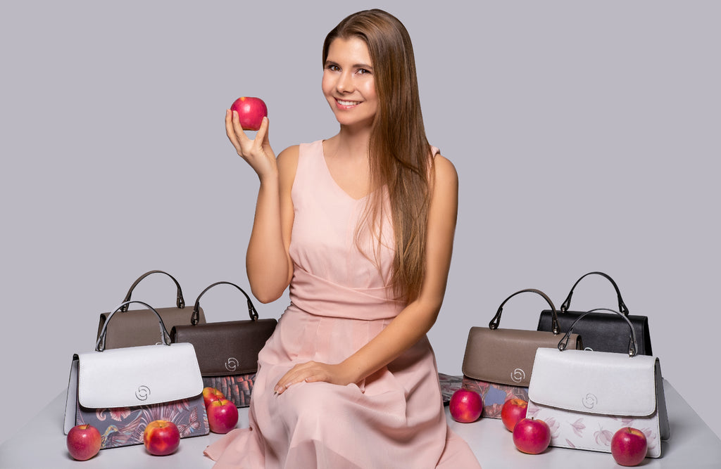 Tanja Schenker Founder & CEO of happy genie - apple leather handbags