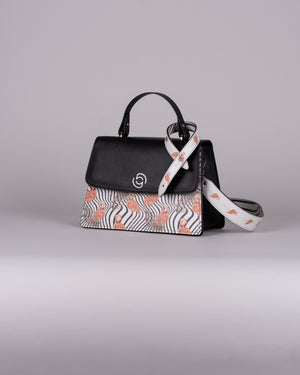 handbag set - black flamingo salmon
