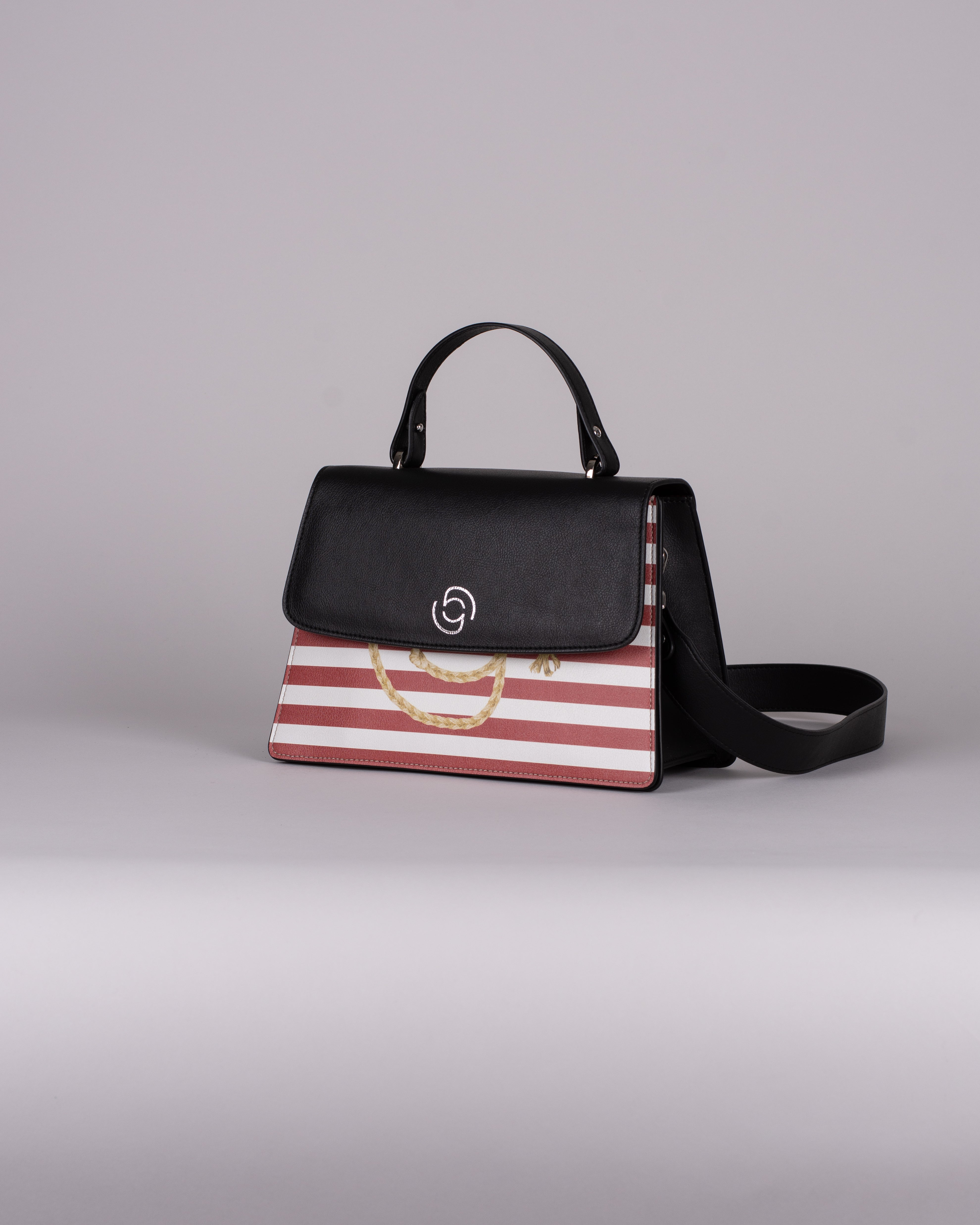 handbag set - black marine red
