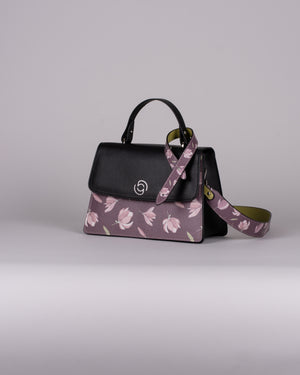 handbag set - black peony dark
