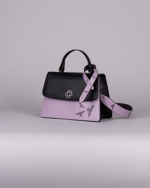 handbag set - black insect lila