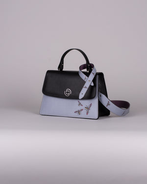 handbag set - black insect blue