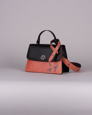 handbag set - black insect orange