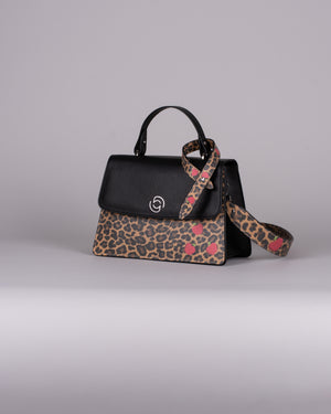 handbag set - black leopard
