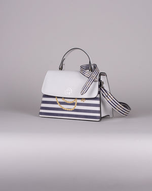 handbag set - white marine blue