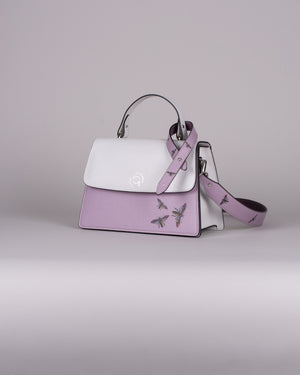 handbag set - white insect lila