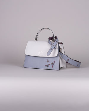handbag set - white insect blue