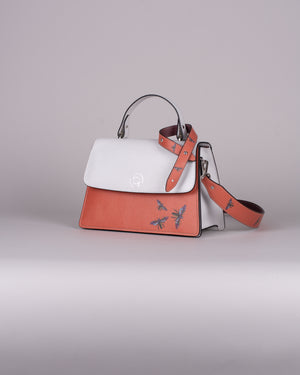 handbag set - white insect orange