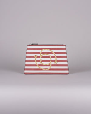 happy genie bag, happy genie, luxury bag, apple bag, apple skin, apple leather, vegan leather, multifunctional bag, clutch, stripes, marine, innovative material.