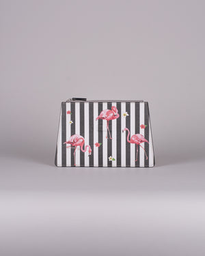 happy genie bag, happy genie, luxury bag, apple bag, apple skin, apple leather, vegan leather, multifunctional bag, clutch, flamingo, stripes, innovative material.