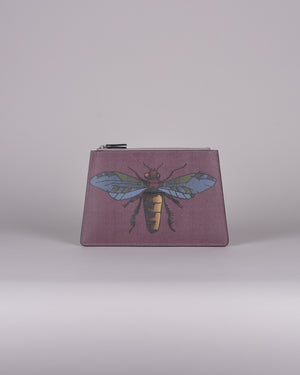 happy genie bag, happy genie, luxury bag, apple bag, apple skin, apple leather, multifunctional bag, clutch, animal clutch, insect, purple, innovative material.