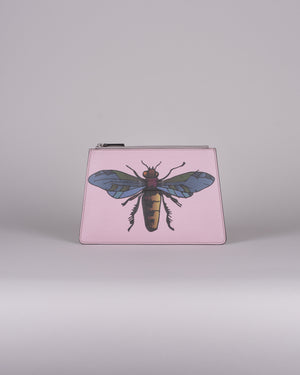 happy genie bag, luxury bag, apple bag, apple skin, apple leather, multifunctional bag, clutch, animal clutch, insect, pink, innovative material.