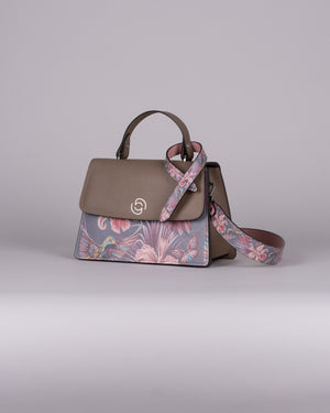 handbag set - taupe hummingbird dark