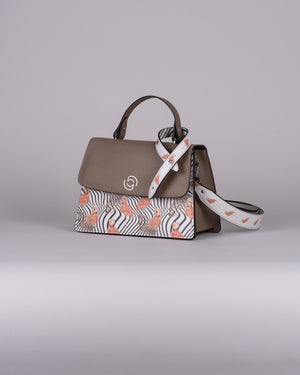 handbag set - taupe flamingo salmon