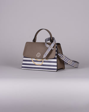 handbag set - taupe marine blue