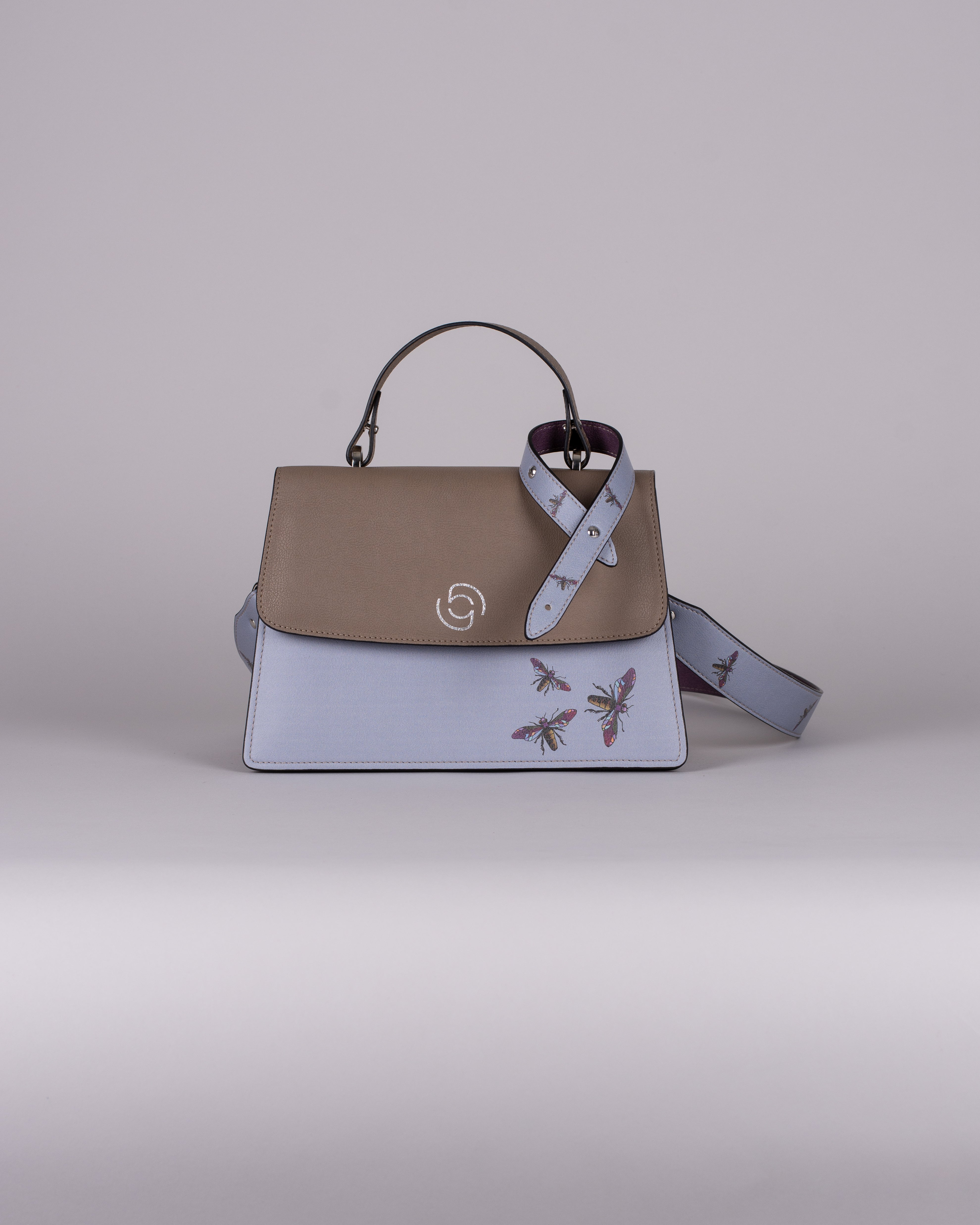 handbag set - taupe insect blue