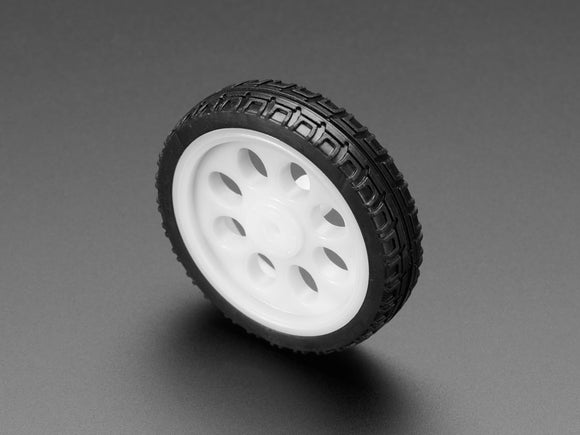 Thin White Wheel for TT DC Gearbox Motors - 65mm Diameter