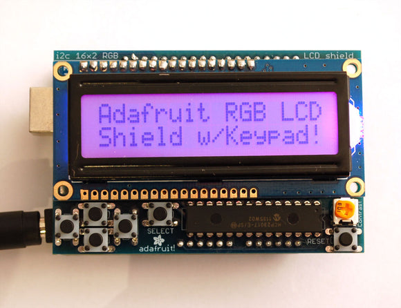 RGB LCD Shield Kit w/ 16x2 Character Display - Only 2 pins used! - POSITIVE DISPLAY Image