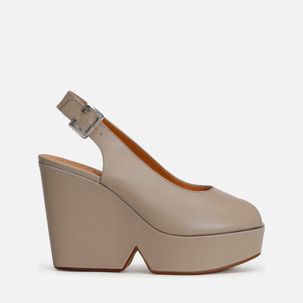 clergerie - LAST CHANCE || DYLAN WEDGE SANDALS, TAUPE