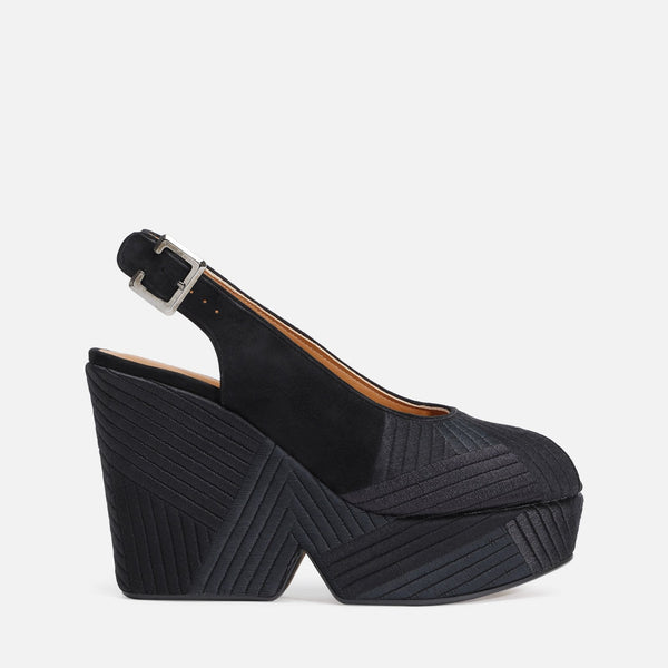 clergerie - DORI WEDGE SANDALS, BLACK