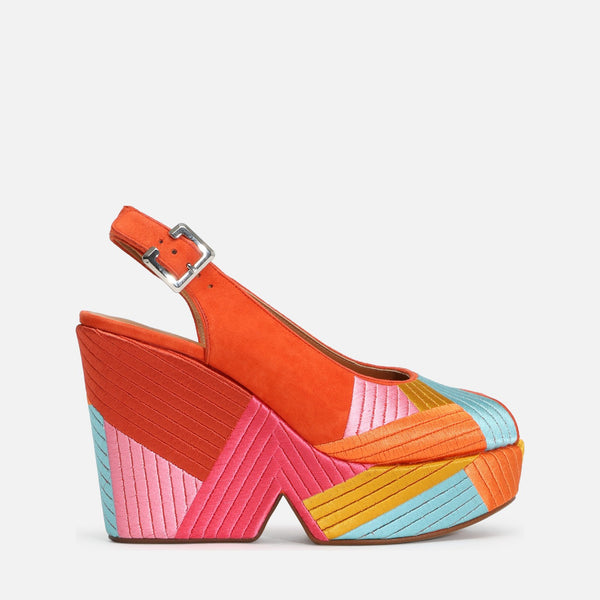 clergerie - DORI WEDGE SANDALS, MULTICOLOR