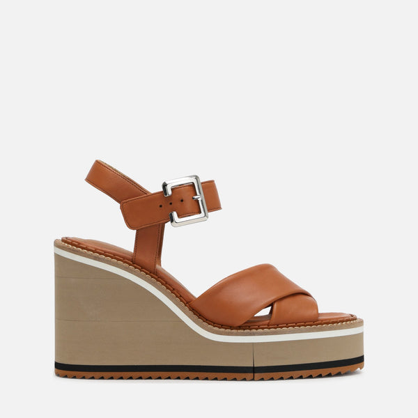 clergerie - NOEMIE WEDGE SANDALS, CAMEL