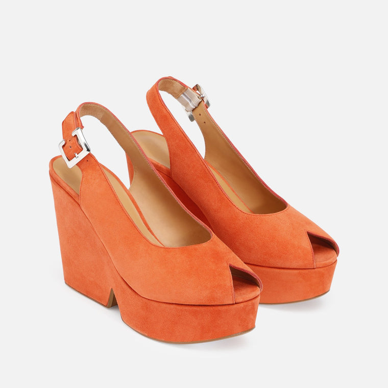 clergerie - DYLAN WEDGE SANDALS, ORANGE