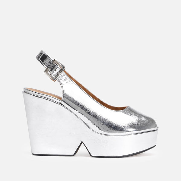 clergerie - LAST CHANCE || DYLAN WEDGE SANDALS, SILVER