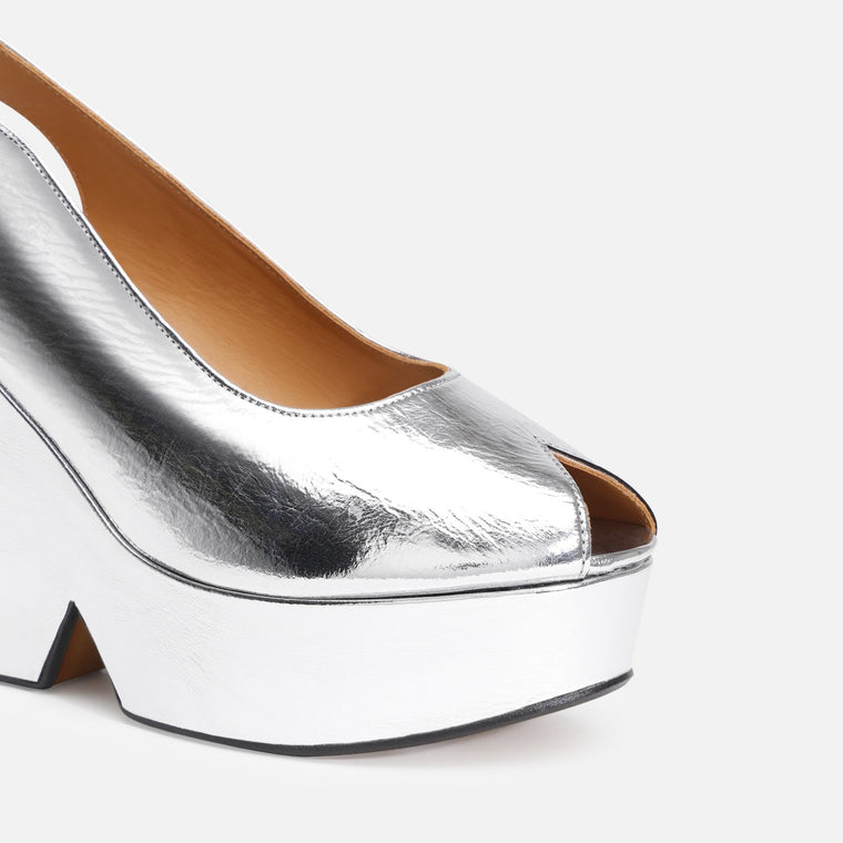 clergerie - DYLAN WEDGE SANDALS, SILVER