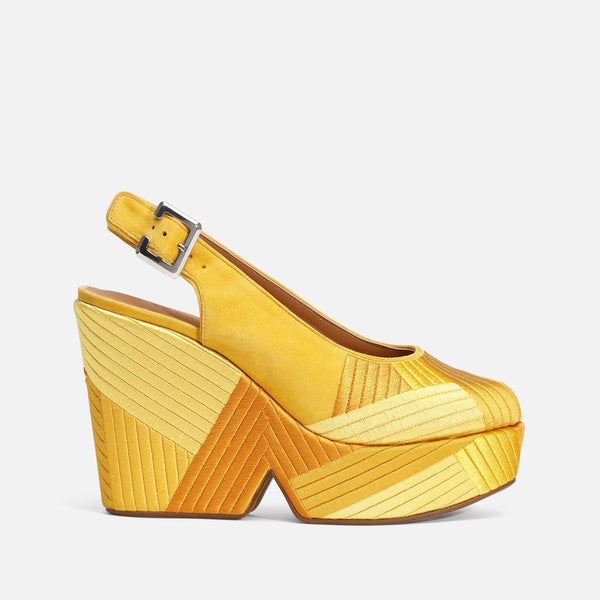 clergerie - LAST CHANCE || DORI WEDGE SANDALS, YELLOW