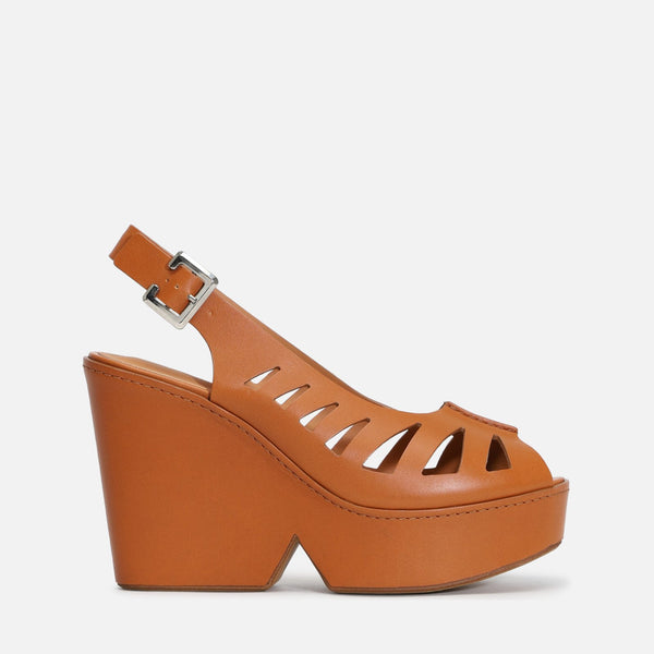 clergerie - LAST CHANCE || DIANE WEDGE SANDALS, CAMEL